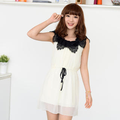 59 Seconds - Sleeveless Lace Trim Drawcord-Waist Dress