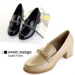 SWEET MANGO - Chain-Trim Chunky-Heel Pumps