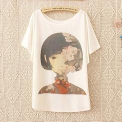 Maymaylu Dreams - 花朵女孩多圖案短袖t恤上衣