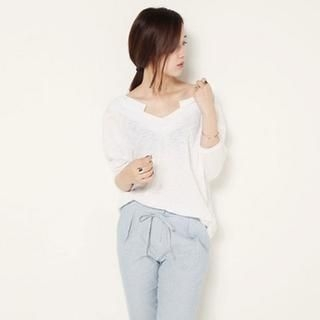 SARAH - Cut Away Neckline Dolman Sleeve T-Shirt