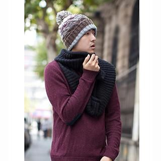 Thantrue - Pompom-Accent Striped Beanie