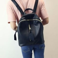 Bam's - Zip Front Faux-Leather Backpack