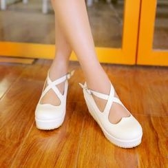 YOUIN - Bow-Accent Platform Wedge Shoes