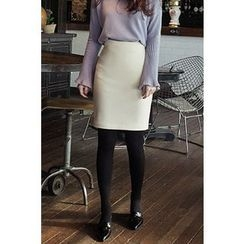 CHERRYKOKO - Brushed-Fleece Lined Pencil Skirt