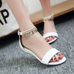 Charming Kicks - Embellished Ankle Strap Sandals
