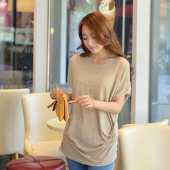 CLICK - Round-Neck Linen Blend Shirred T-Shirt