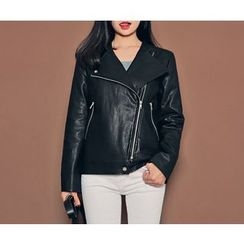 HOTPING - Zip-Detail Faux-Leather Jacket