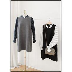 J-ANN - Inset Blouse Shift Dress