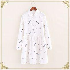 布衣天使 - 印花長袖襯衫連衣裙