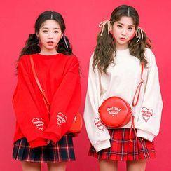 chuu - Lettering Brushed-Fleece Lined Sweatshirt
