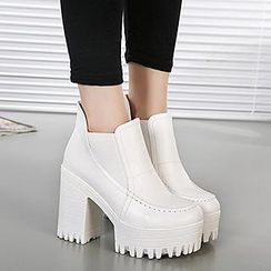 Mancienne - Chunky Heel Ankle Boots