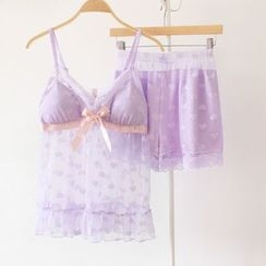 Snorie - Pajama Set: Lace Strap Top + Shorts