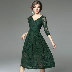 Ozipan - 3/4-Sleeve Lace Dress