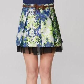 O.SA - Printed Mesh-Layered A-Line Skirt