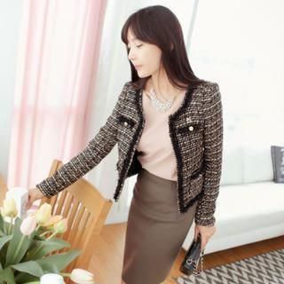 St. Mary - Wool Blend Open-Front Tweed Jacket