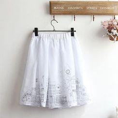 akigogo - Printed A-line Midi Skirt