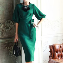 Eleganza - Elbow-Sleeve Sheath Midi Dress