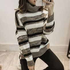 lilygirl - Striped Turtleneck Sweater