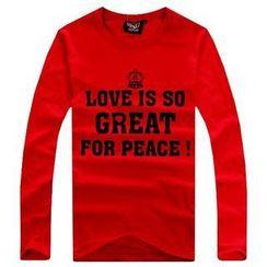Free Shop - Long-Sleeve Printed T-Shirt