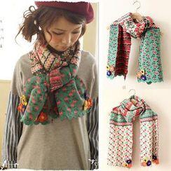 11.STREET - Floral Crochet Scarf