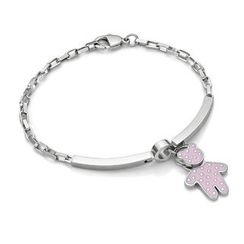 Kenny & co. - Pink Dot Pattern Bear Charm With Steel Bracelet