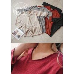 GOROKE - V-Neck Mélange Long T-Shirt