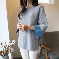 Hello sweety - Color-Block Zip-Back Wool Blend Sweater