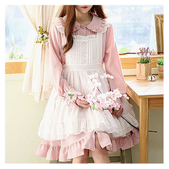 Sechuna - Frilled Peterpan-Collar Buttoned Empire Dress