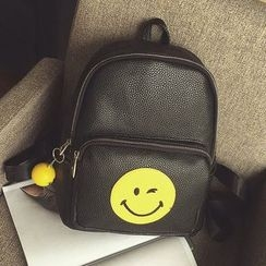 Youme - Smiley Face Embroidered Backpack