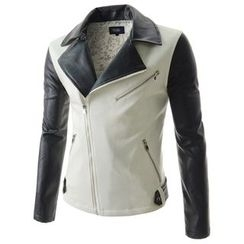 TheLees - Color-Block Faux-Leather Biker Jacket