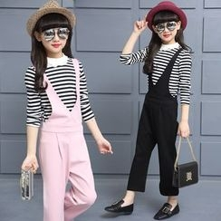 Pegasus - Kids Set: Striped Long Sleeve T-Shirt + Plain Pinafore Jumpsuit