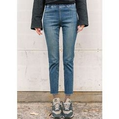 J-ANN - Elastic-Waist Skinny Jeans