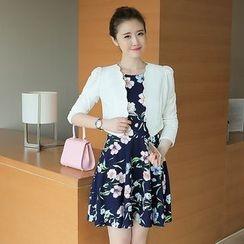 Zella - Set: Scallop Trim Cropped Jacket + Floral Print Sleeveless Dress