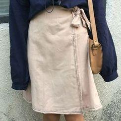 Cloud Nine - Tie Waist A-Line Skirt
