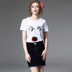 Y:Q - Set: Sequined Perforated Short-Sleeve T-Shirt + Denim Skirt