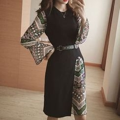 Cloud Nine - Set: Print Bell Sleeve Chiffon Dress + Sleeveless Slit Dress
