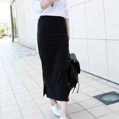 JVL - Slit-Side Maxi Skirt