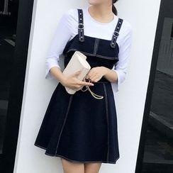 Mukouf - 3/4-Sleeve Mock Two Piece Dress