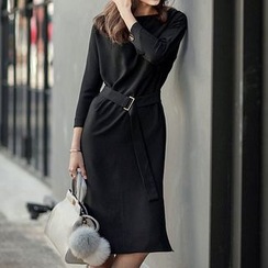 Fashion Street - 3/4-Sleeve Shift Dress with Belt