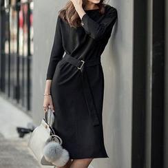 Fashion Street - 七分袖直腿连衣裙配腰带
