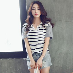HotBlock - V-neck Stripe Panel Short-Sleeve T-shirt