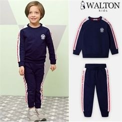 WALTON kids - Set: Raglan-Sleeve Lettering T-Shirt + Band-Waist Pants