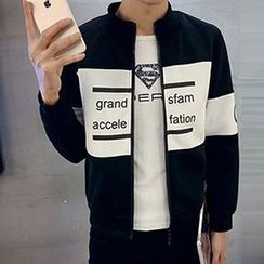 Zeesebon - Lettering Color Panel Zip Jacket