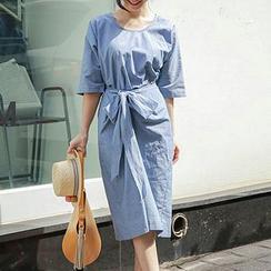 Fashion Street - Elbow-Sleeve Tie Waist Midi Dress