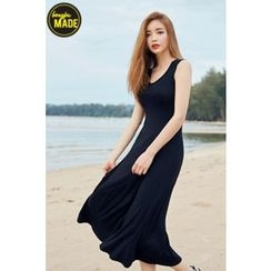 BONGJA SHOP - U-Neck Sleeveless Long Dress