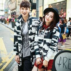 Evolu Fashion - Couple Matching Printed Stand-collar Woolen Coat