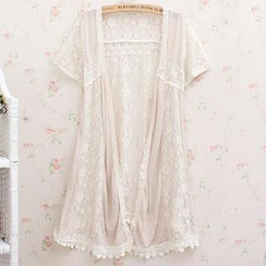 Blue Hat - Short-Sleeve Lace Long Jacket