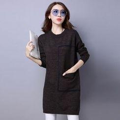 Romantica - Contrast-Trim Melange Knit Dress