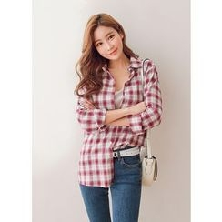 J-ANN - Plaid Loose-Fit Shirt