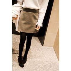 CHERRYKOKO - A-Line Mini Wool Skirt